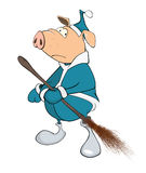 Cute Pig Yard Keeper Cartoon Stock Photo