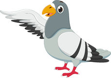 Cute pigeon cartoon waving Royalty Free Stock Image