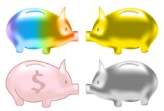 Cute piggy bank color glossy texture set Royalty Free Stock Images