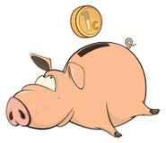 A cute piggy bank cartoon Stock Photography