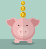 Cute Piggy Bank And Gold Coin With Flat Design. Saving Money Concept Stock Photo