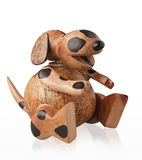 Cute piggy bank handicraft wooden dog Royalty Free Stock Photography