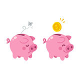 Cute Piggy bank illustration Royalty Free Stock Photography