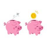 Cute Piggy bank illustration. Cute cartoon piggy bank illustration. Sad empty and happy with money Royalty Free Stock Photography