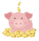 Cute Piggy Bank Standing On Many Gold Coins, Saving Concept Royalty Free Stock Images
