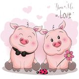 Cute piggy couple with flower vector illustration