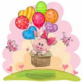 Piggy girl in the box is flying on balloons stock illustration