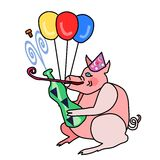 Cute piggy in party cap opens a bottle of sparkling wine Royalty Free Stock Image