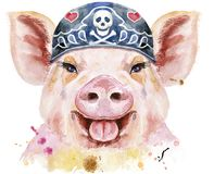 Watercolor portrait of pig wearing biker bandana. Cute piggy. Pig for T-shirt graphics. Watercolor pink pig wearing biker bandana stock illustration
