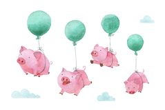 Cute piggy watercolor illustration. Four pigs flying in balloons across the sky. 2019 stock illustration