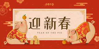 Cute piggy wearing traditional costumes. New year design, Welcome the spring written in Chinese words stock illustration