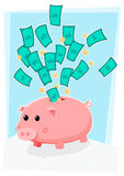 Cute piggybank with money Royalty Free Stock Photos