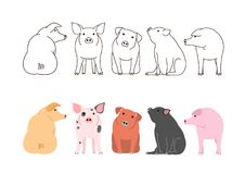 Cute pigs border set. Brown line arts and with colors vector illustration