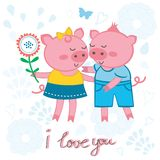 Cute pigs in love. Love card with cute pigs in love Stock Image