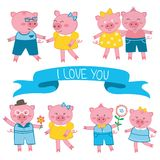 Cute pigs in love couples. Illustration Royalty Free Stock Photos