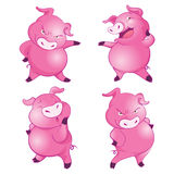 Cute pigs many actions. Cute pigs cheerful  funny dancing many actions Royalty Free Stock Photography
