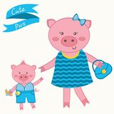 Cute pigs. Mother pig and piglet Royalty Free Stock Image