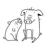 Cute Pigs Outline Funny Illustration for Kids Mom Royalty Free Stock Photography