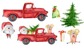 Red Christmas truck creator with pig, santa and gifts New year watercolor illustration. Red Christmas truck creator with pig, santa and gifts New year hand drawn royalty free illustration