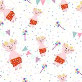 Cute pigs in red pantalones with lollipops. vector illustration