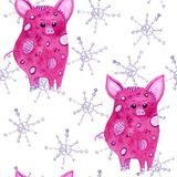Cute pigs and snowflakes watercolor seamless pattern on white background stock illustration