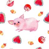 Cute pigs watercolor seamless pattern on white background. vector illustration