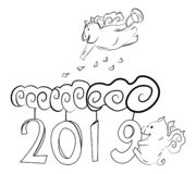 Cute pigs with wings fly among the clouds. And figures 2019 stock illustration