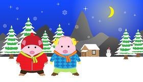 2 Cute Pigs Winter Night, Vector for Christmas and New Year Card Royalty Free Stock Photo