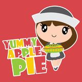 Cute pilgrim girl brings apple pie  cartoon illustration for happy thanksgiving`s day card design. Wallpaper and kid t-shirt design Stock Photography