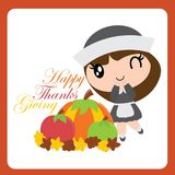 Cute pilgrim girl finds pumkin and apple on maple leaves vector cartoon illustration for thanksgiving`s day card design Stock Photography