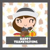 Cute pilgrim girl with roasted turkey and apple pie vector cartoon illustration for thanksgiving`s day card design Stock Photos