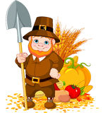 Cute pilgrim with spade Royalty Free Stock Images
