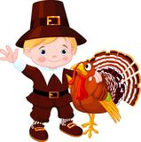 Cute pilgrim  and turkey Stock Image