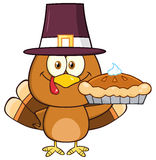 Cute Pilgrim Turkey Bird Cartoon Character Stock Photo