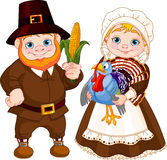 Cute Pilgrims Couple Royalty Free Stock Photo
