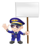 Cute pilot with sign character illustration Stock Images
