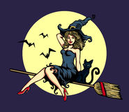 Cute pin-up girl in witch costume riding flying broomstick halloween vector illustration Stock Photography
