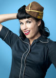 Cute Pin Up Model in Military Cap Royalty Free Stock Photos