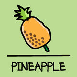 Cute pineapple hand-drawn style, vector illustration. Cute pineapple hand-drawn style,drawing,hand drawn vector illustration Stock Photography
