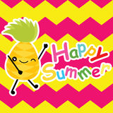 Cute pineapple is happy on chevron background  cartoon, summer postcard, wallpaper, and greeting card, T-shirt design for ki Royalty Free Stock Photography
