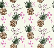 Cute pineapple pattern with text cool summer and heart. In doodle style stock illustration