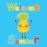 Cute pineapple say hello on blue background  cartoon, summer postcard, wallpaper, and greeting card, T-shirt design for kids Stock Photos
