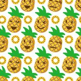 Cute pineapple seamless pattern. Vector background Royalty Free Stock Photos