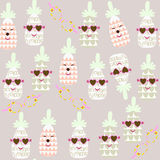 Cute pineapple seamless pattern and seamless pattern in swatch m Royalty Free Stock Photo