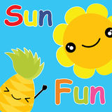 Cute pineapple and sun on blue background vector cartoon, summer postcard, wallpaper, and greeting card, T-shirt design for kids Stock Photos
