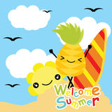 Cute pineapple and sun are happy at beach on sky background vector cartoon, summer postcard, wallpaper, and greeting card, T-shirt Stock Photos