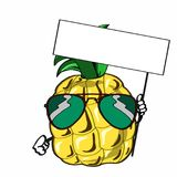 Cute pineapple and sunglasses and banner. Tropic fruit Royalty Free Stock Photography