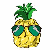 Cute pineapple and sunglasses. And banner tropic fruit Stock Photo