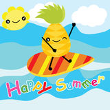 Cute pineapple is surfing on the beach on striped background  cartoon, summer postcard, wallpaper, and greeting card, T-shir Royalty Free Stock Photo