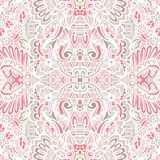 Cute pink abstract arabesque ethnic vintage seamless pattern tile background. Ethnic geometric seamless vintage flourish ornamental pattern vector illustration